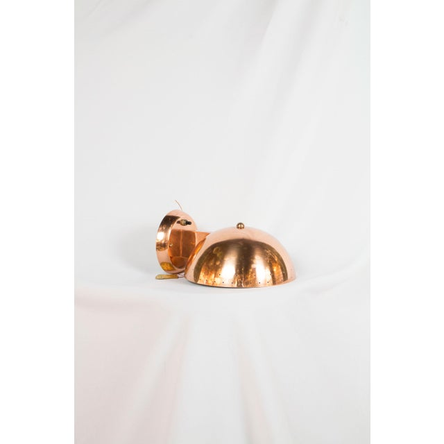 Copper plated with painted white interior. Small pinholes around edge of shade for starlight effect when lit. Newly...