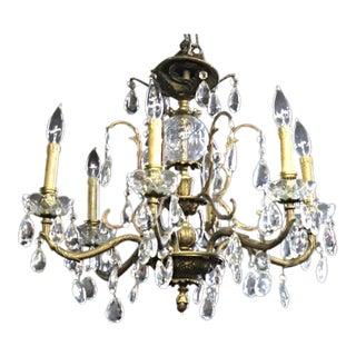 Bronze & Crystal Hanging Chandelier For Sale