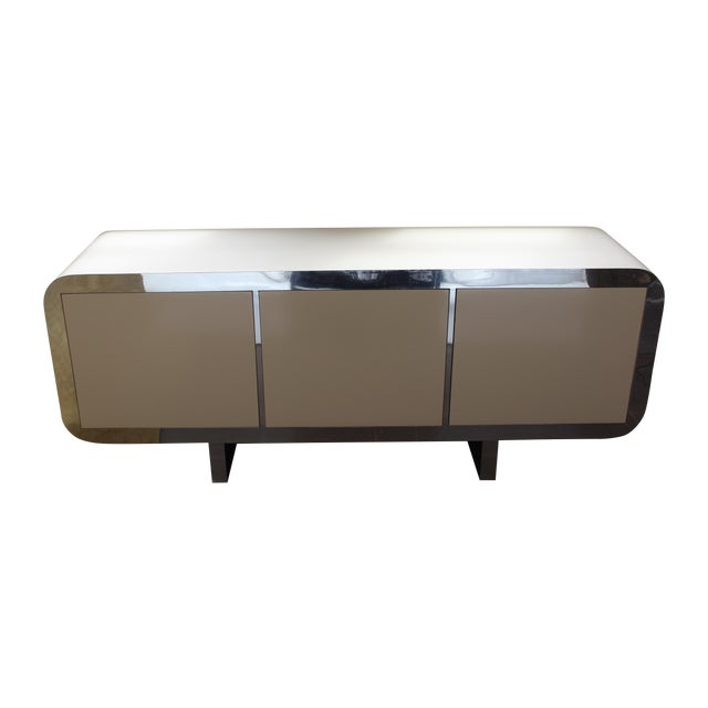 Mid Century Modern Laminate Lacquered Credenza For Sale