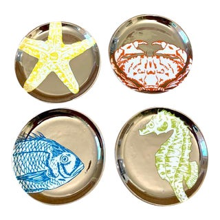 Jonathan Adler Aquatica Nautical Themed Coasters - Set of 4 For Sale