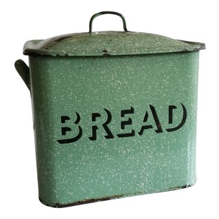 Rare Speckled Green Enamel Bread Bin For Sale