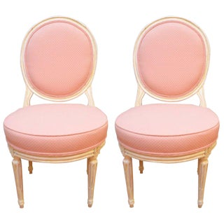 Pair of Louis XVI Style Painted Boudoir Chairs Newly Upholsted in a Pink Fabric