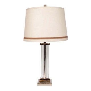 Art Deco Glass and Nickel Table Lamp by Gilbert Rohde for MSLC For Sale