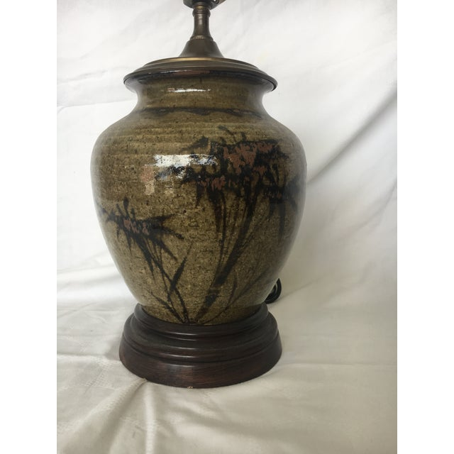 Bamboo Pottery Lamp with Bamboo Motif For Sale - Image 7 of 7