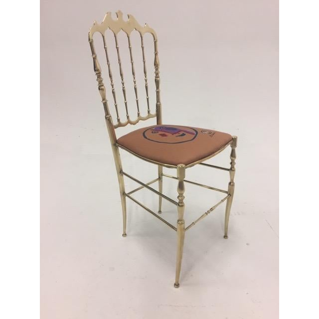 Brown 1960s Vintage Italian Solid Brass Chiavari Spindle Back Chair For Sale - Image 8 of 9
