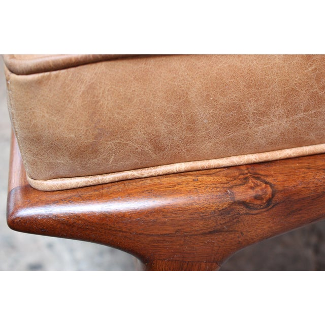 Italian Modern Carlo De Carli Walnut and Leather Lounge Chair and Ottoman For Sale - Image 9 of 13