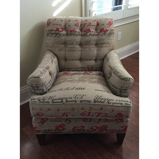 Tufted Calligraphic Upholstered Chair - Image 2 of 6
