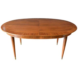 1955 Mahogany & Brass Dining Table For Sale