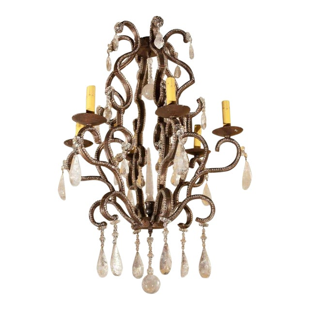 1980s Six-Light Iron and Rock Crystal Chandelier For Sale