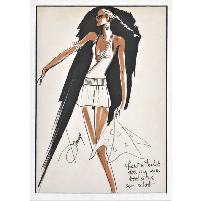 1980s Rare Original 1980's French Fashion Drawing Summer Beach Cruise Wear For Sale - Image 5 of 5