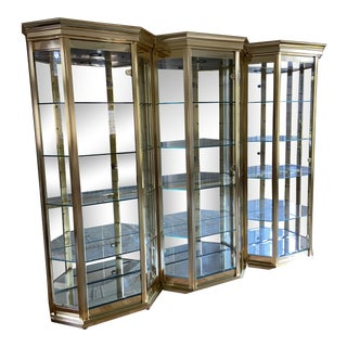 Brass and Glass Curio Cabinet Vitrines - Set of 3 For Sale
