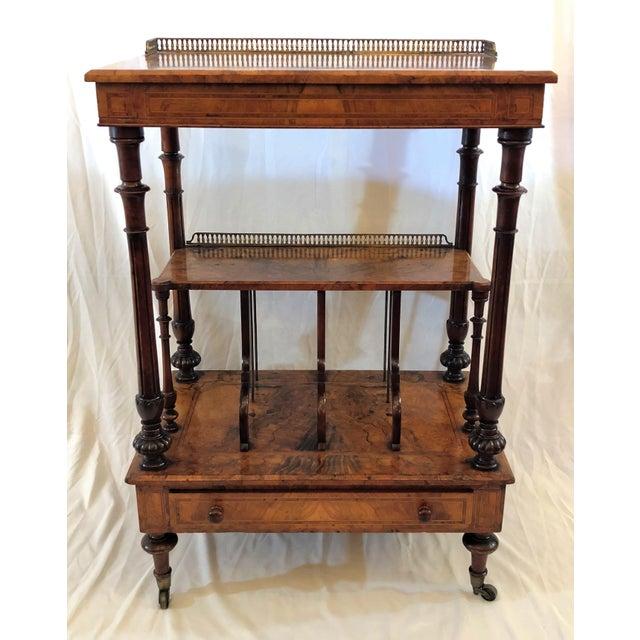 Antique English Walnut Canterbury and Music Stand, Circa 1870-1880.
