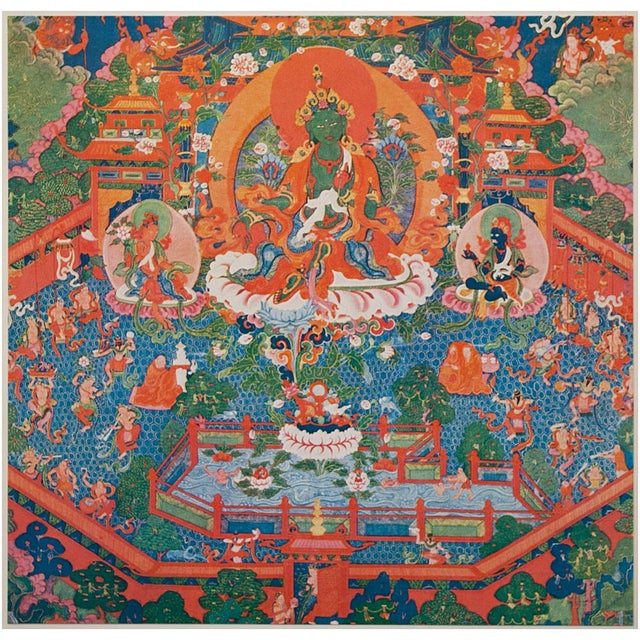 An extremely rare original photogravure of 18th century Tibetan Buddhist painting The Paradise Of The Tara Goddess. Comes...