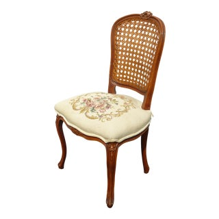 Vintage French Provincial Beige Floral Needlepoint Cane Accent Chair Made in Italy For Sale