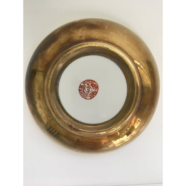 Japanese Lotus Hand Painted Brass Encased Porcelain Bowl/Catchall For Sale - Image 10 of 13