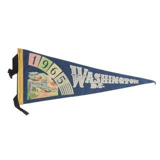 Vintage 1965 Washington d.c Felt Flag Pennant For Sale