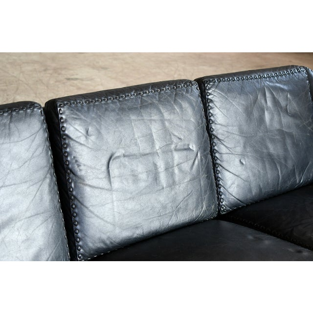 Leather Danish Airport Style Sofa Model Matador in Black Leather by Eran in 1966 For Sale - Image 7 of 13