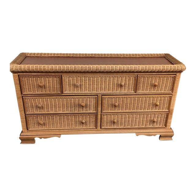 Seven Drawer Wicker Dresser - Image 1 of 6