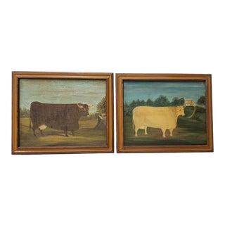 Pair of Vintage Prized Cattle Oil Paintings by E. Wiley For Sale