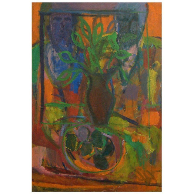 "Canvas 1960, David Alexick, ""Still Life"", Abstract, Orange, Blue, Lavender, Green, Yellow, Black, Oil on Canvas For Sale - Image 7 of 7"