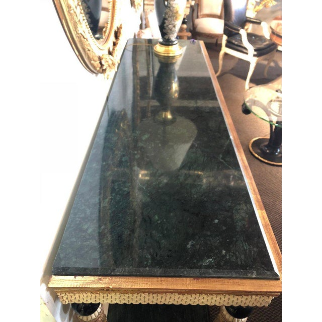 Pair of Neoclassical Style Marble Top Consoles Attributed to Maison Jansen For Sale - Image 10 of 13