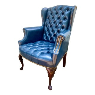 Hancock & Moore Tufted Leather Wingback Chair For Sale