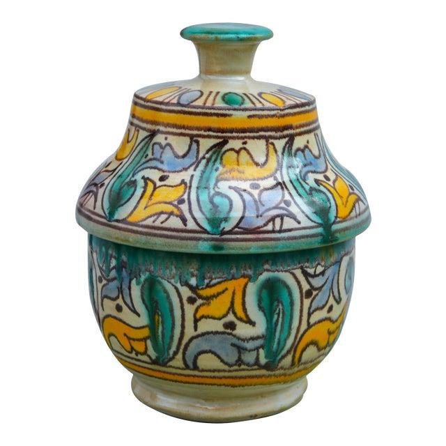 Antique Moorish Ceramic Box For Sale