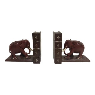 1950s Vintage Walnut and Leather Elephant Book Ends - A Pair For Sale