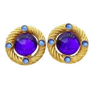 90s Blue Park Lane Button Gold Clip Earrings - A Pair