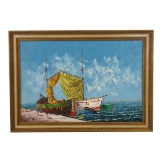 Vintage Mid-Century Oil on Canvas Sailboat Dock Scene Signed Hayol in Gold Gilt Frame For Sale