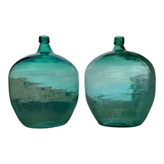 Antique Green Glass Demijohns - a Pair For Sale
