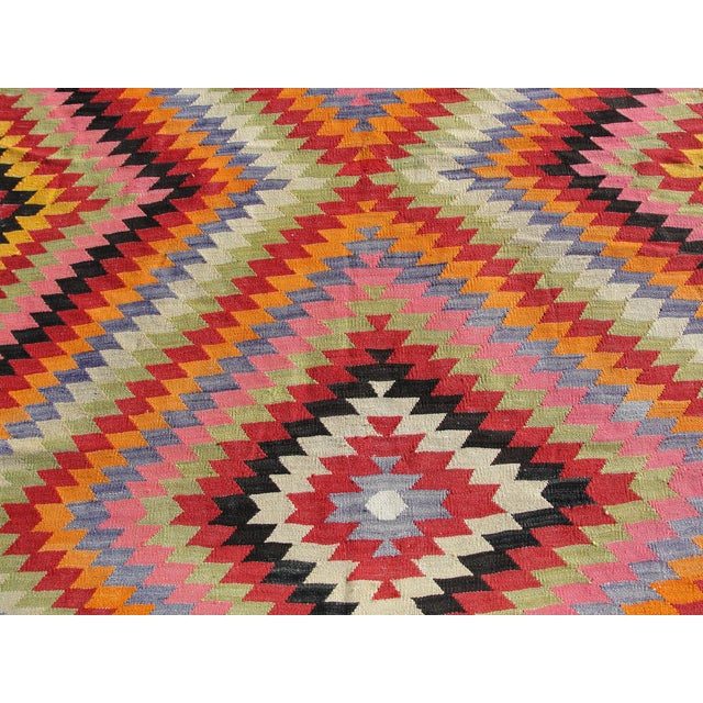 Green Vintage Turkish Kilim Rug - 5′5″ × 8′7″ For Sale - Image 8 of 11