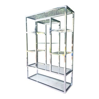 Chrome and Glass Milo Baughman Style Modern Etagere For Sale