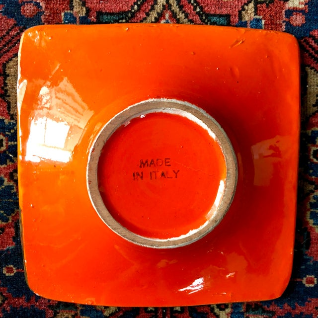 Mid 20th Century Mid Century Bitossi Orange Gold Ashtray For Sale - Image 5 of 6