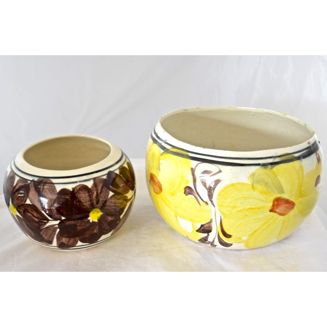 Country Yellow Mexican Flower Pots - A Pair For Sale - Image 3 of 6