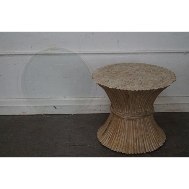 McGuire Style Rattan Wheat Sheaf Glass Top Side Table For Sale - Image 9 of 10