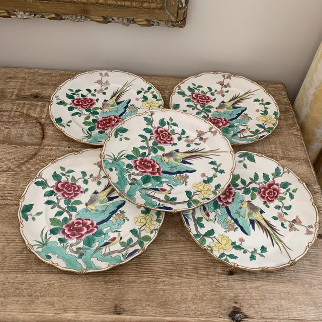 Early 20th Century Exceptional Antique Chinese Porcelain Bird Plates- Set of 5 For Sale - Image 5 of 7
