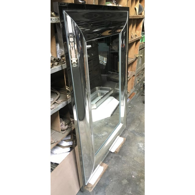 Bronze Andre Hayat Rectangular Curved Silver Mercury Frame Mirror For Sale - Image 7 of 11