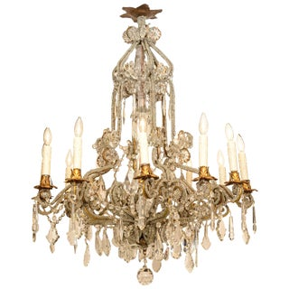 Baroque Bead-Encrusted Twelve Light Chandelier For Sale