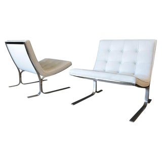 1970s Vintage Nicos Zographos White Leather Lounge Chairs- A Pair For Sale