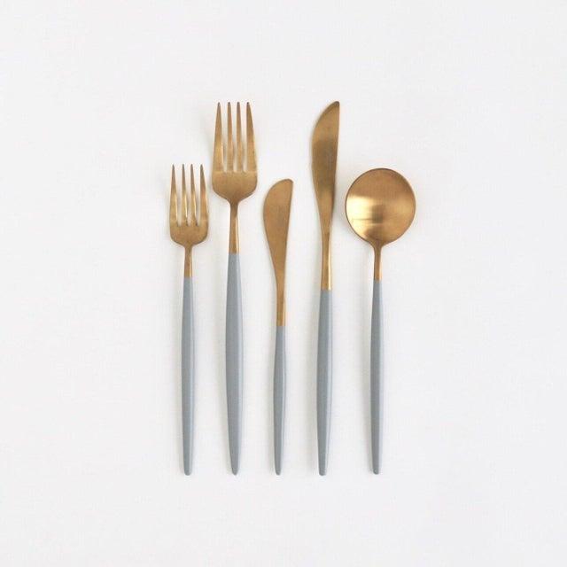 Modern Luna Grey + Gold Flatware Set - Set of 5 For Sale - Image 3 of 3