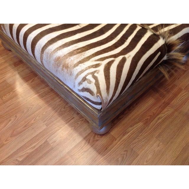 Enormous Zebra Hide Ottoman For Sale - Image 10 of 13