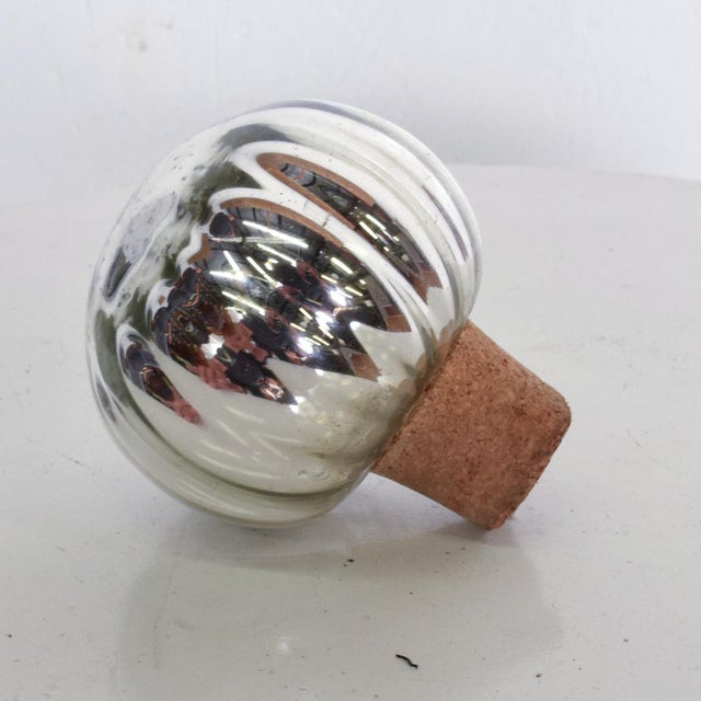 Wood Vintage Mexican Modern Mercury Glass Stopper For Sale - Image 7 of 8
