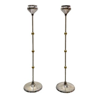 Vintage Silver-Plated and Brass Candlestick Holders — a Pair For Sale