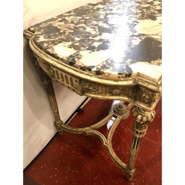 Late 19th Century Louis XVI Style Distressed Paint Decorated 19th Century Marble Top Center Table For Sale - Image 5 of 12