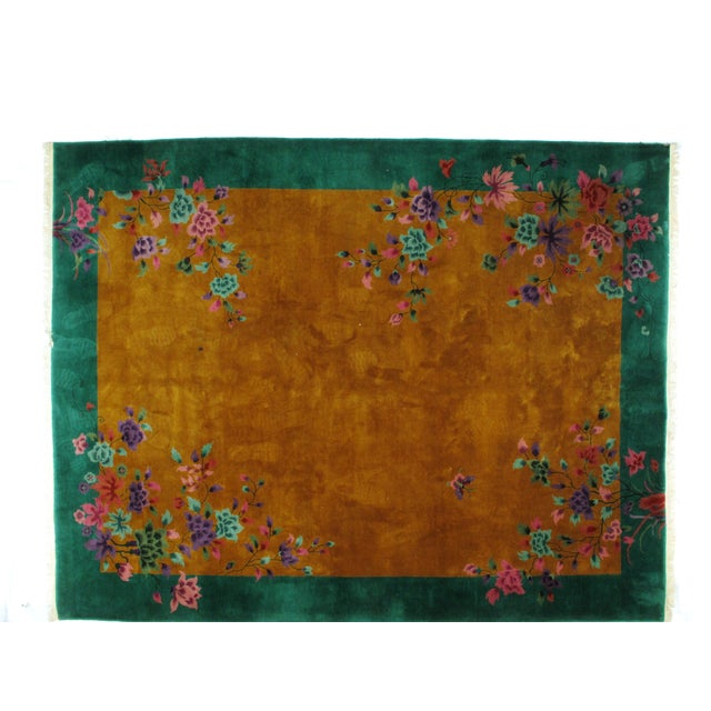This master piece is a wool pile genuine hand woven antique Art Deco style Chinese carpet in excellent condition.