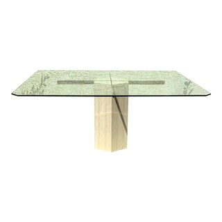 Octagonal Artedi Dining Travertine Table For Sale