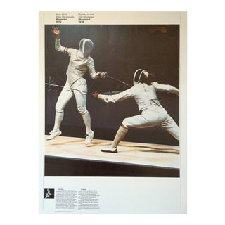 1976 Montreal Olympic Poster, Double-Sided, Fencing\Shooting - Cojo For Sale
