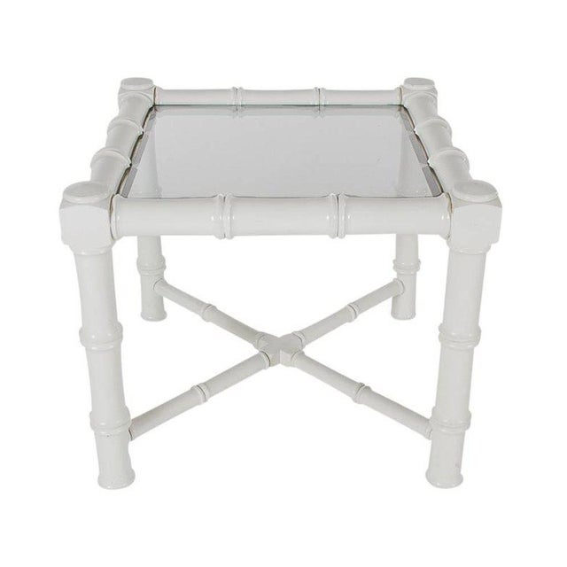 White Faux Bamboo Chinoiserie Tables - A Pair - Image 4 of 6