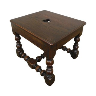 Antique William & Mary Style Oak Joint Stool Small Side Table For Sale